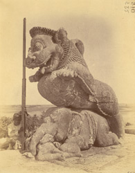 Statue of a lion rearing over an elephant, near the simhadvara, Surya Temple or Black Pagoda, Konarka